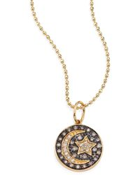 Sydney Evan - Small Moon And Star Diamond & 14k Yellow Gold Medallion Necklace - Lyst