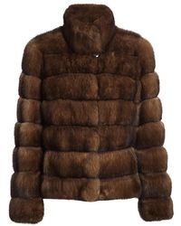 Saks Fifth Avenue Sectioned Sable Fur Jacket - Brown