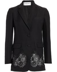 Valentino Lace Inset Wool & Silk Blazer - Black