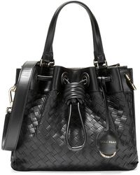 Cole Haan Small Woven Leather Tote - Black