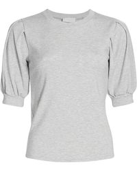 7 For All Mankind Puff-sleeve Textured Top - Gray