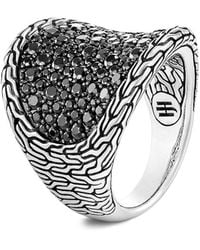 John Hardy - Classic Chain Sterling Silver, Black Sapphire & Spinel Saddle Ring - Lyst
