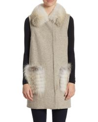 Guy Laroche Wool Fur Vest - Natural