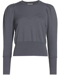 AG Jeans Walker Stitched Puff-sleeve Cotton Sweatshirt - Gray
