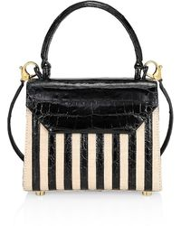 Nancy Gonzalez Tina Craig X Mini Lily Striped Crocodile & Raffia Top Handle Bag - Black