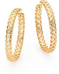 9acc9e742 Gucci - Diamantissima 18k Yellow Gold Hoop Earrings/1.5 - Lyst