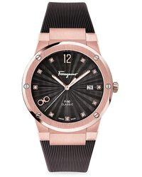 Ferragamo F-80 Classic Lady Rose Goldplated Rubber Strap Watch - Pink