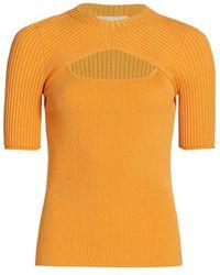 Jonathan Simkhai Keira Compact Rib Cut Out Crewneck T-shirt - Orange