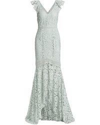 ML Monique Lhuillier Lace Cutaway Gown - Multicolor