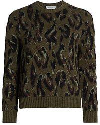 10 Crosby Derek Lam Evan Textured Leopard Sweater - Green