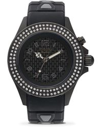 Kyboe - Power Radiant Black Swarovski Crystal, Black Stainless Steel & White Silicone Strap Watch/40mm - Lyst