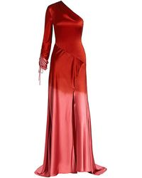 Alejandra Alonso Rojas Dip-dye Silk One-shoulder Gown - Red