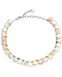 DANNIJO Lina Freshwater Pearl Beaded Necklace - Metallic