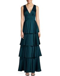 Laundry by Shelli Segal - Tiered Flocked Dot Chiffon Gown - Lyst