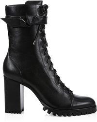Alexandre Birman Evelyn Block-heel Leather Combat Boots - Black