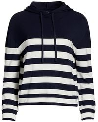 Majestic Filatures French Terry Stripe Hoodie - Blue