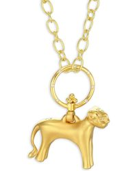 Temple St. Clair - Women's Standing Lion Diamond & 18k Yellow Gold Pendant - Yellow Gold - Lyst