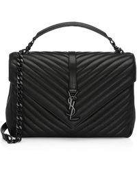 ae699bd6a34c Saint Laurent - Large College Matelasse Leather Shoulder Bag - Lyst
