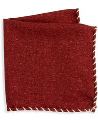 Brunello Cucinelli Whipstitch Pocket Square - Red