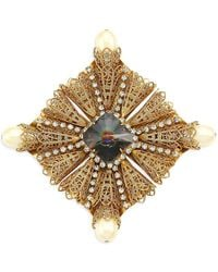 Kenneth Jay Lane - Antique Goldplated, Crystal & Faux-pearl Brooch - Lyst