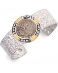 Coomi - Coin Diamond, 20k Yellow Gold & Sterling Silver Cuff Bracelet - Lyst