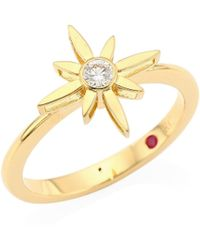 Roberto Coin - Princess Cinderella 18k Yellow Gold & Diamond Star Ring - Lyst