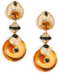 Marina B   Pneu Diamond, Citrine, Black Jade & 18k Yellow Gold Drop Earrings   Lyst