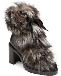 Christian Louboutin - Fanny 70 Fur & Leather Booties - Lyst