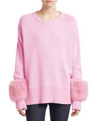 Cinq À Sept - Fox Fur-cuff Sweater - Lyst