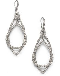 ABS By Allen Schwartz - Pavé Double Loop Earrings - Lyst