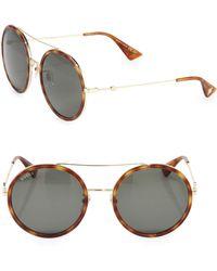 Gucci - 56mm Double-bridge Round Sunglasses - Lyst