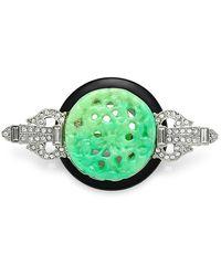 Kenneth Jay Lane Crystal, Black & Jade-color Carved Deco Brooch - Green