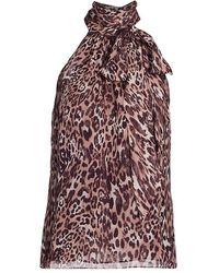 Ramy Brook Leopard Silk Halter Top - Multicolor