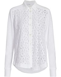 Wilt Mixed Lace Button-up Shirt - White