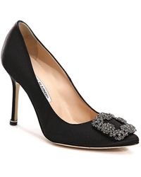 Manolo Blahnik Ladies Black Leather Buckled Hangisi 105 Satin Courts