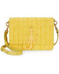 JW Anderson Raffia Logo Crossbody Bag - Yellow