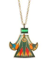 Silvia Furmanovich Marquetry 18k Yellow Gold Pendant Necklace - Multicolor