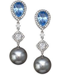 Adriana Orsini - Aqua Swarovski Pearl Drop Earrings - Lyst