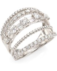 SHAY - Mixed Diamond & 18k White Gold 5-row Ring - Lyst