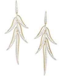 Adriana Orsini - Pirouette Crystal Leaf Drop Earrings - Lyst