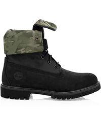 Timberland - Premium Camo Print-trim Leather & Canvas Combat Boots - Lyst