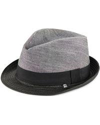 e07df0e5dac Block Headwear - Men s Chambray Twill Trilby - Black Grey - Lyst