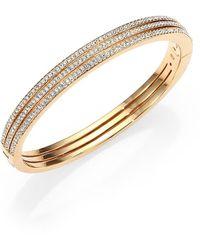 Adriana Orsini - Goldtone Pavé Crystal Three-row Bangle Bracelet - Lyst