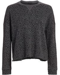 ATM French Terry Mini Animal Print Sweatshirt - Asphalt/ Black Combo