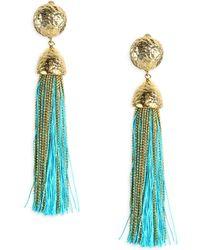 Rosantica Women's Corda Tassel Clip-on Earrings - Light Blue