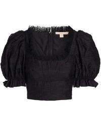 Brock Collection Tris Pleated Chiffon & Lace Top - Black