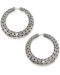 John Hardy Classic Chain Sterling Silver Hoop Earrings/0.8 - Metallic