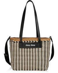Miu Miu Large Woven Leather Tote - Multicolor