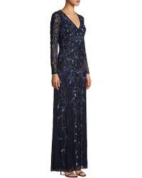 Aidan Mattox Beaded Illusion Long-sleeve Gown - Blue