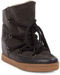 Isabel Marant Nowles Shearling-lined Suede & Leather Boots - Black